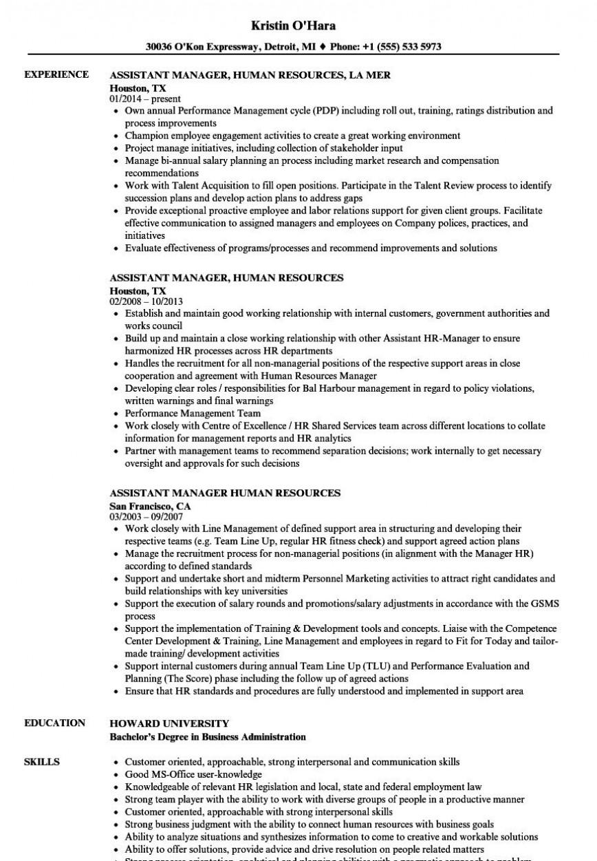 Human Resource Resume Template Addictionary