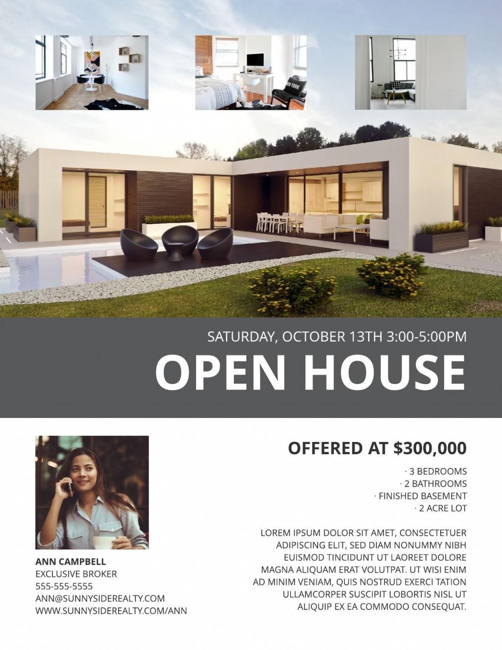003 Best Open House Flyer Template Design  Templates Word Free School MicrosoftLarge