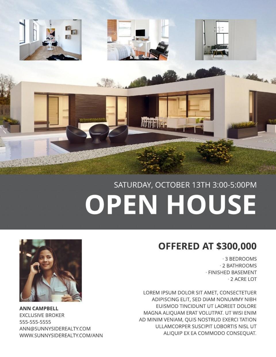 003 Best Open House Flyer Template Design  Word Free School Microsoft960