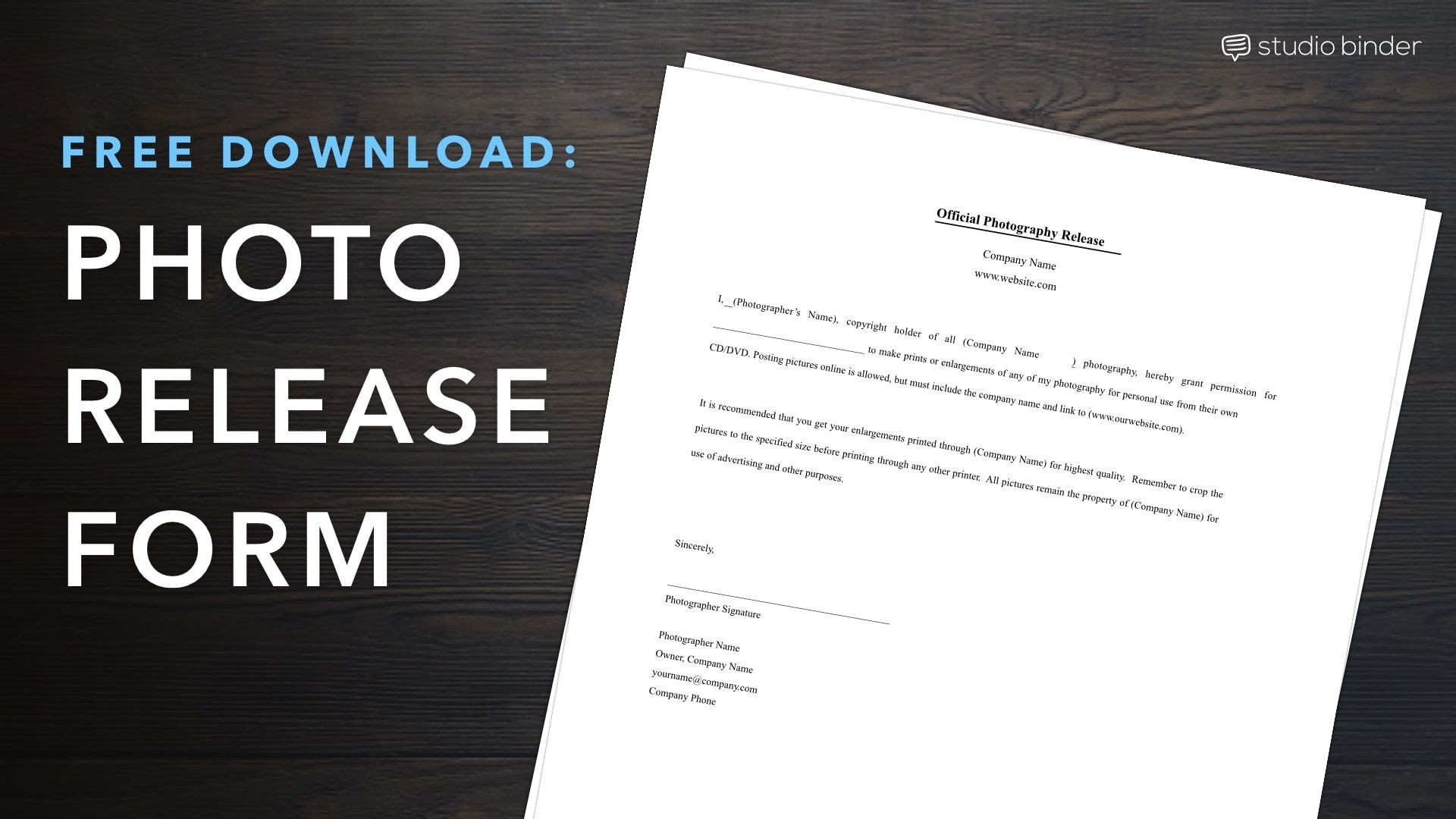 003 Best Photo Release Form Template Free Image  Print Order And Video Canada1920