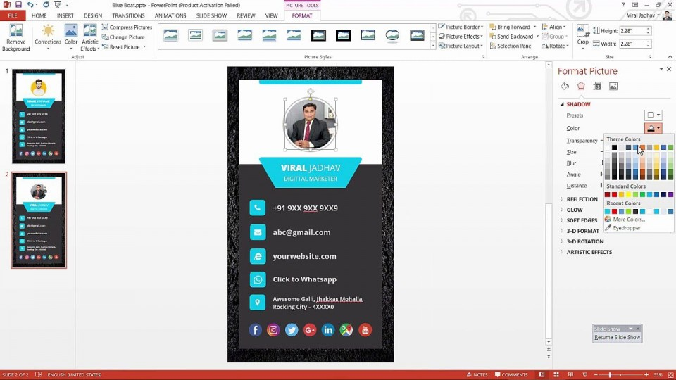 003 Best Powerpoint Busines Card Template Example  Ppt Create960