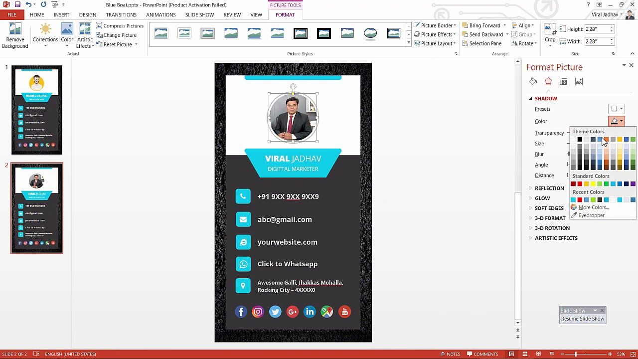 003 Best Powerpoint Busines Card Template Example  Ppt CreateFull