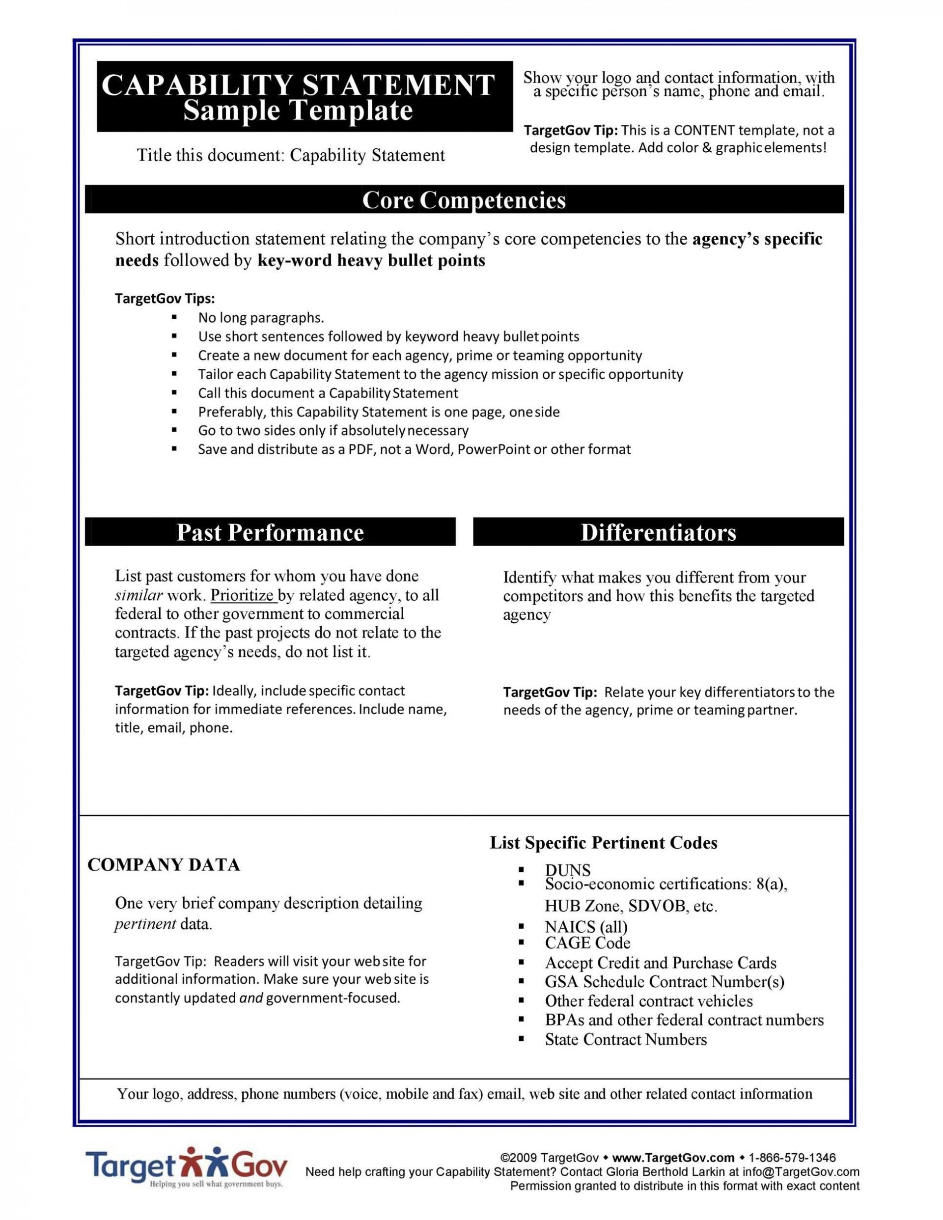 003 Breathtaking Capability Statement Template Free Sample  Word Editable Design1920