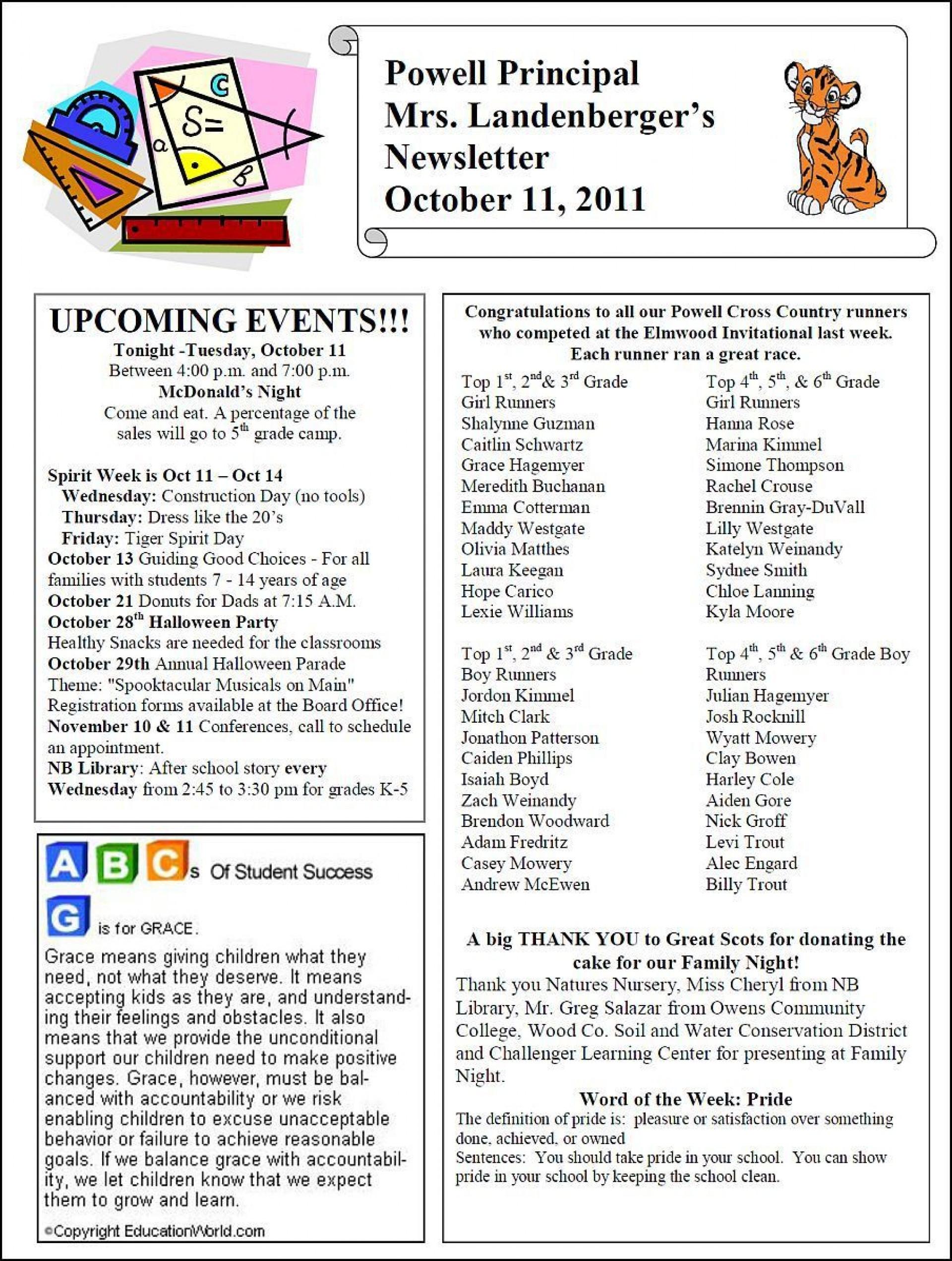 003 Breathtaking Elementary School Newsletter Template Photo  Clas Teacher Free Counselor1920