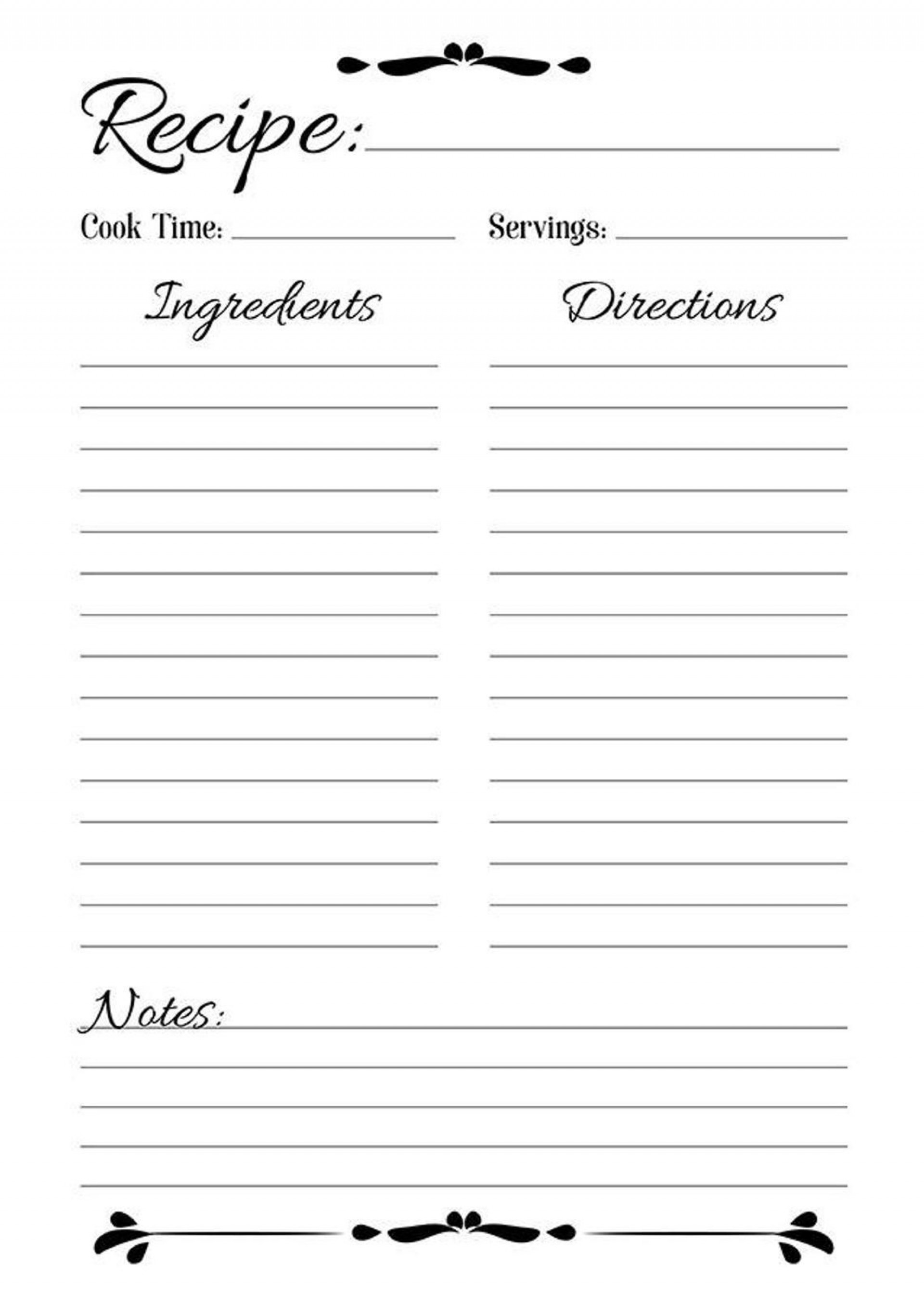 003 Breathtaking Full Page Recipe Template Highest Clarity  Card For Word Free Editable1920