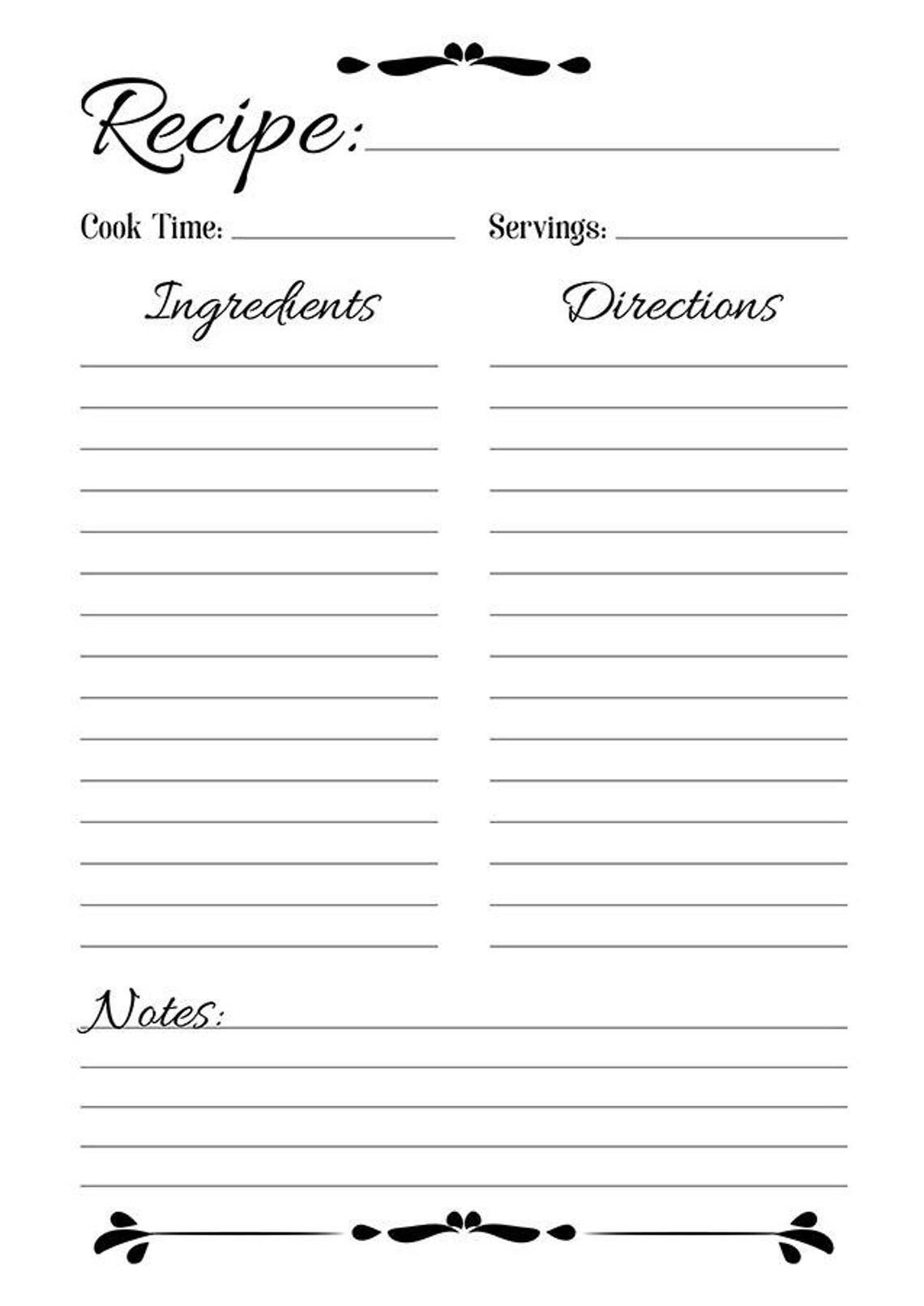 003 Breathtaking Full Page Recipe Template Highest Clarity  Card For Word Free EditableFull