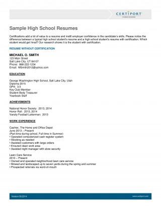 003 Breathtaking Resume Template High School Student Resolution  Sample First Job320