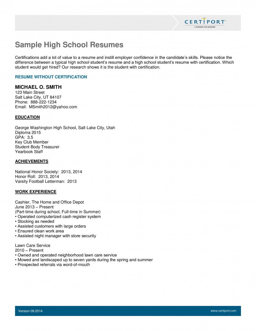 Resume Template High School Students Addictionary