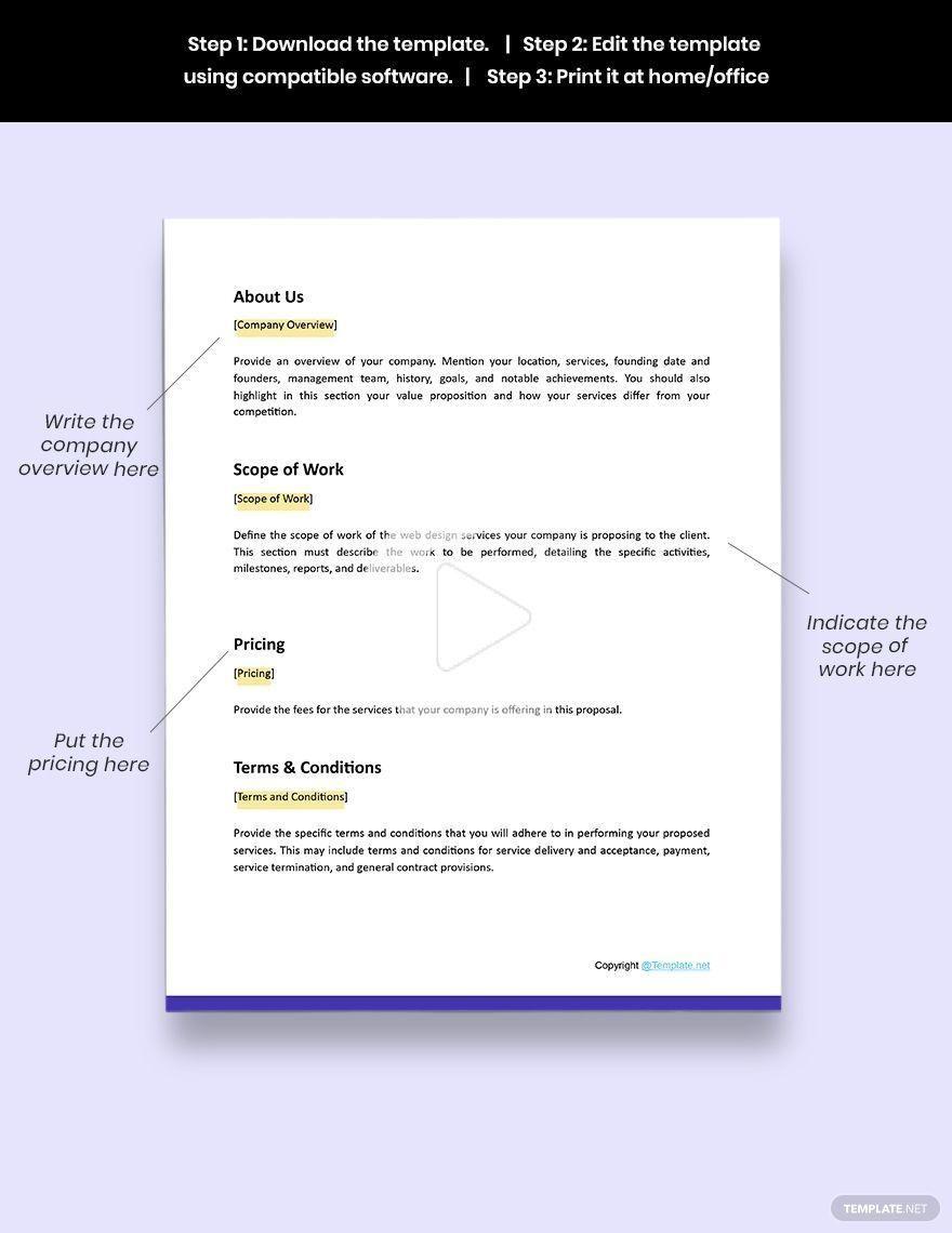 003 Breathtaking Web Design Proposal Template Free  Freelance DownloadFull