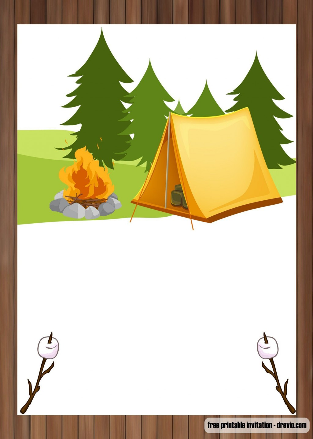 003 Dreaded Camping Invitation Template Free High Def  Party BirthdayLarge
