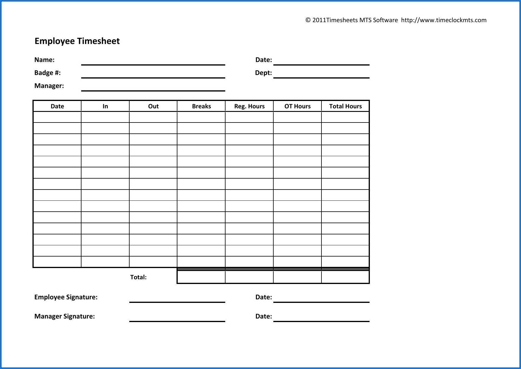 003 Dreaded Employee Time Card Sample Photo  Free Form TemplateFull