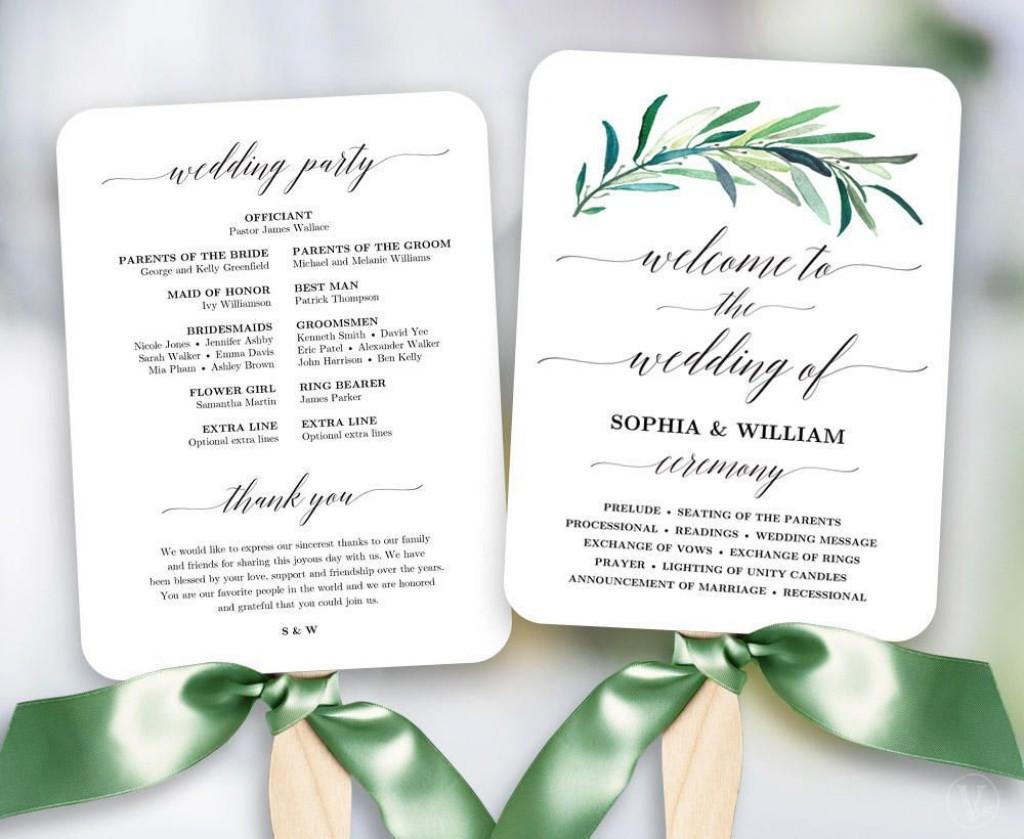 003 Dreaded Free Printable Wedding Program Paddle Fan Template Photo  TemplatesLarge