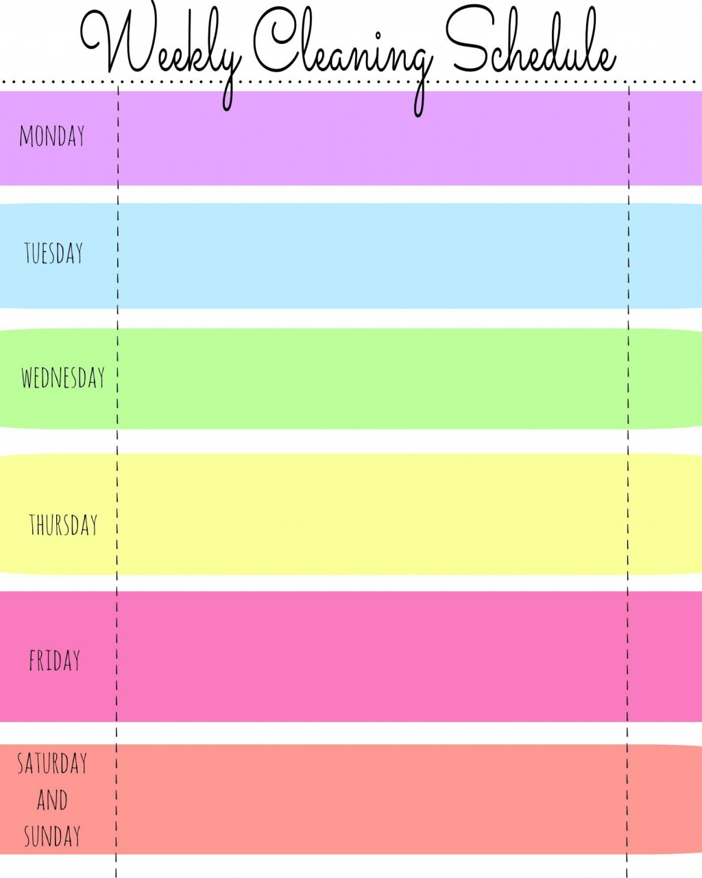 003 Dreaded Free Printable Weekly Cleaning Schedule Template Sample  OfficeLarge