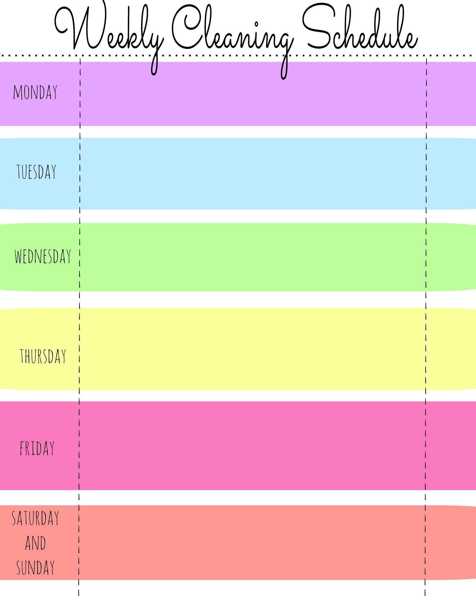 003 Dreaded Free Printable Weekly Cleaning Schedule Template Sample  OfficeFull