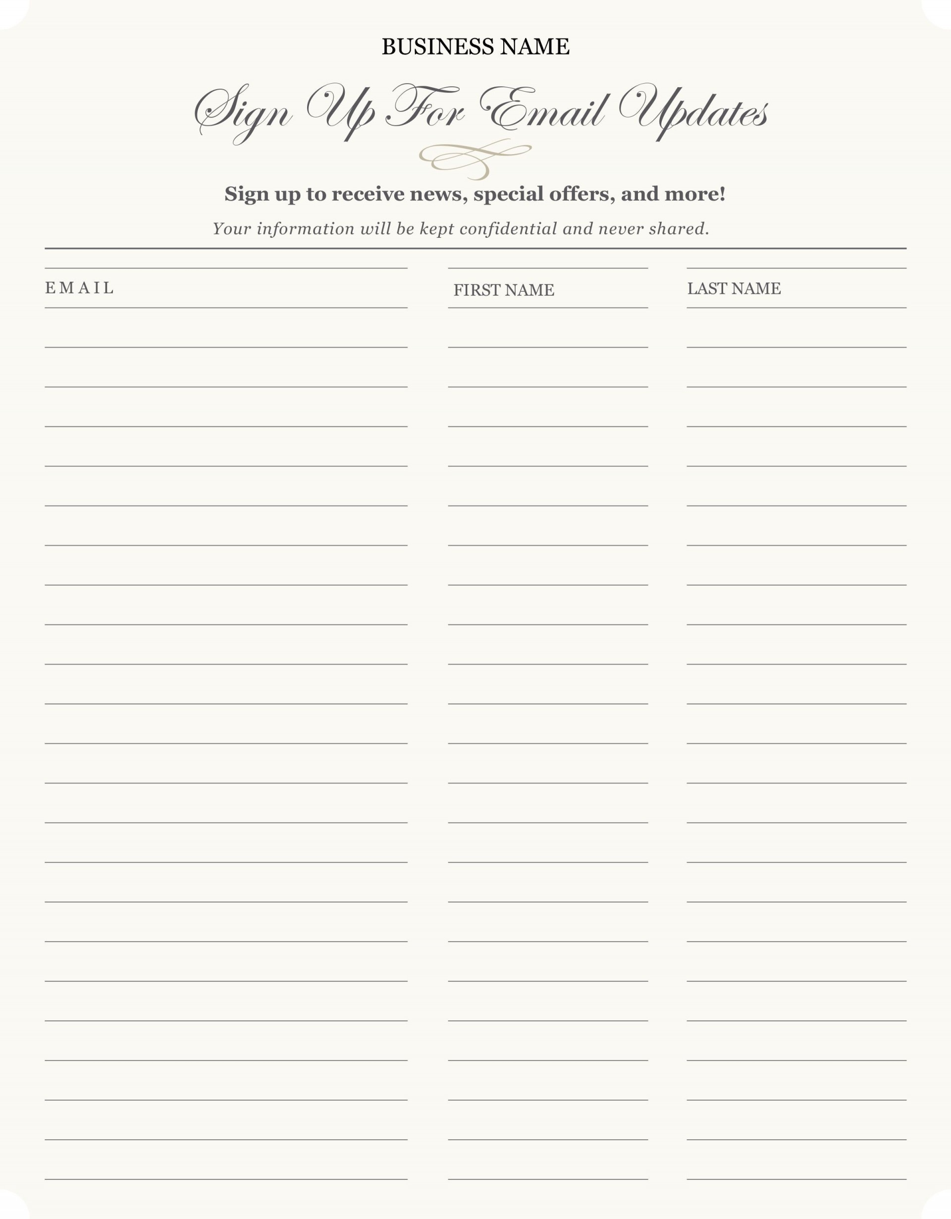 003 Dreaded Free Sign Up Sheet Template Sample  In Word Printable Excel1920