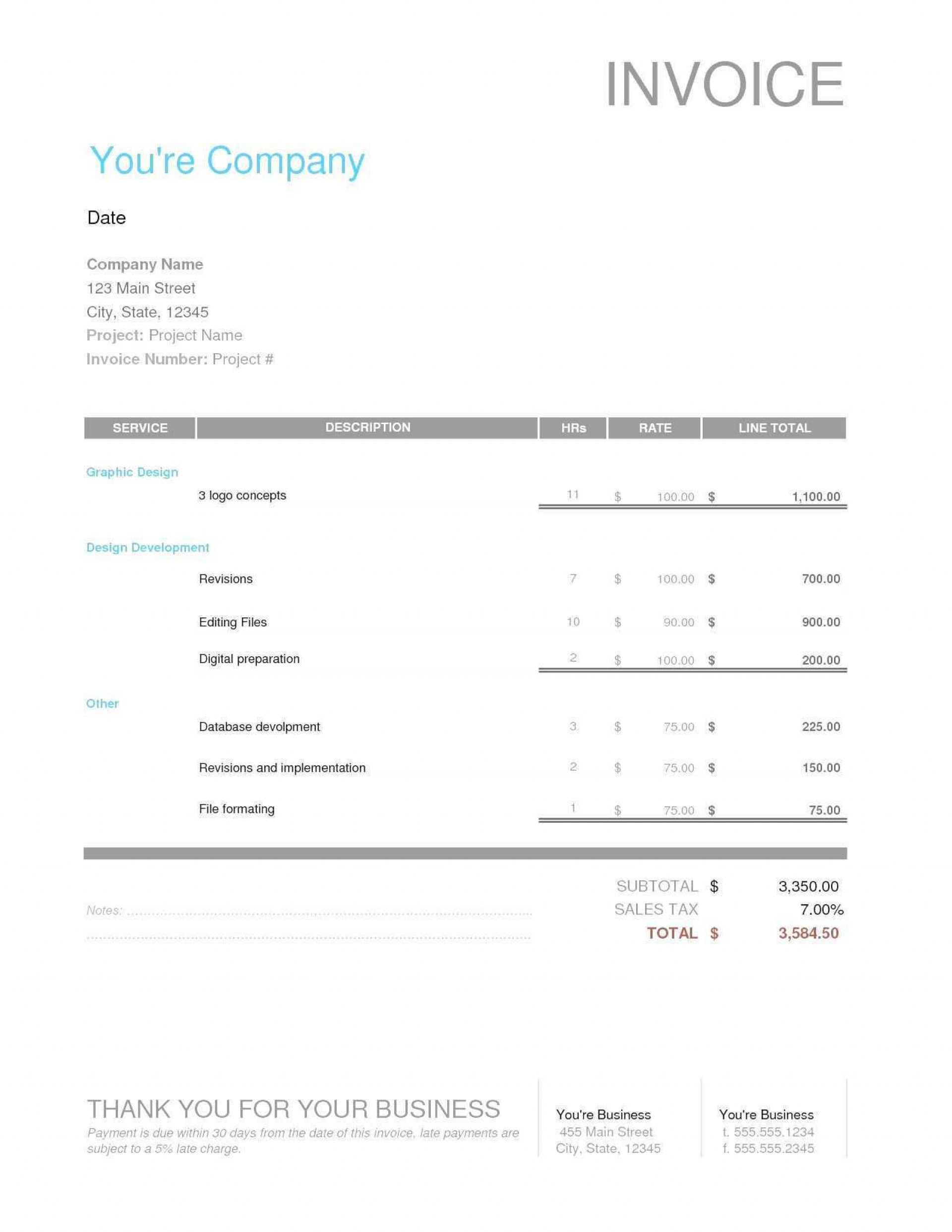 003 Dreaded Freelance Designer Invoice Example Sample  Simple Template1920