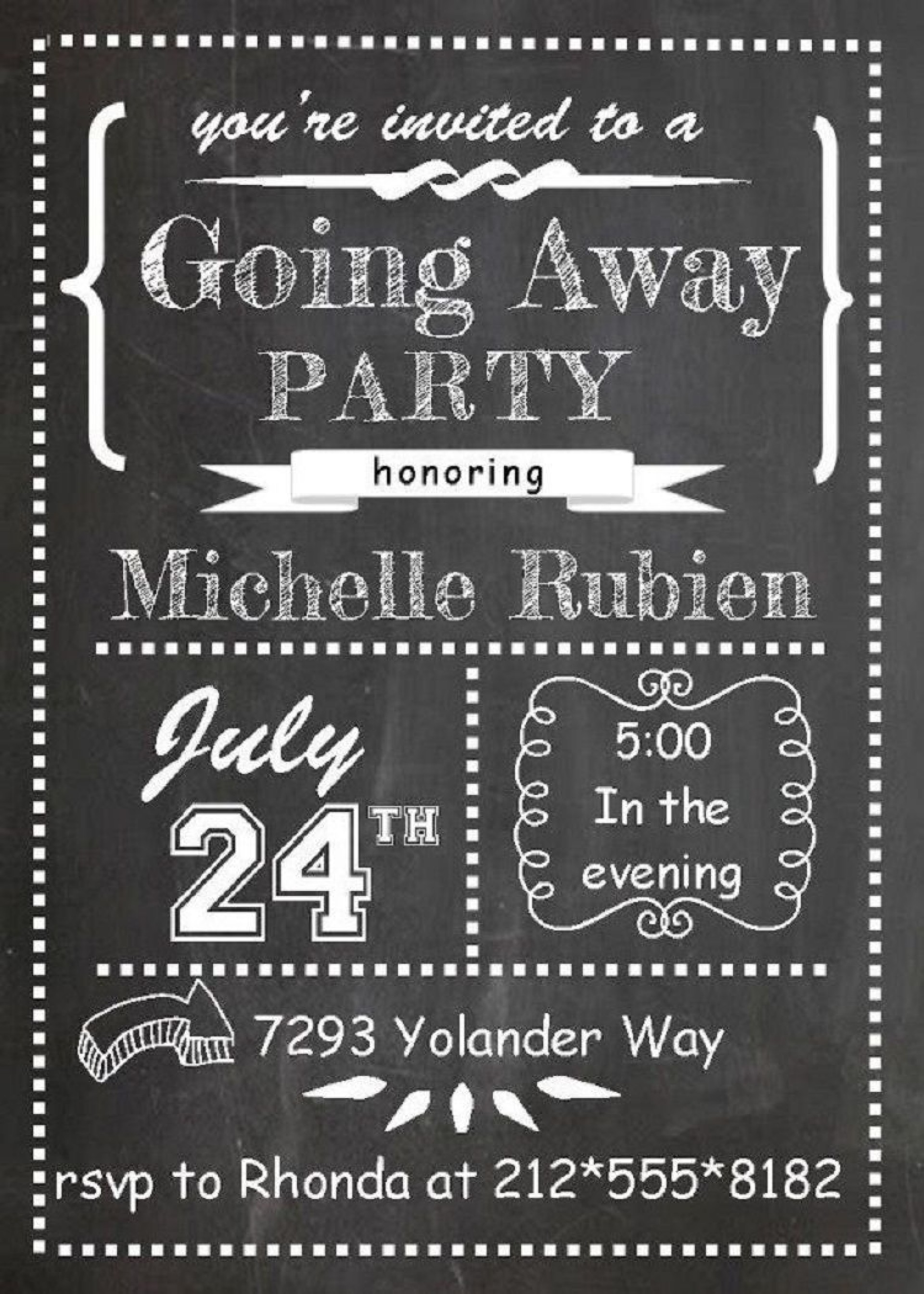 003 Dreaded Going Away Party Invitation Template Example  Free Printable1920