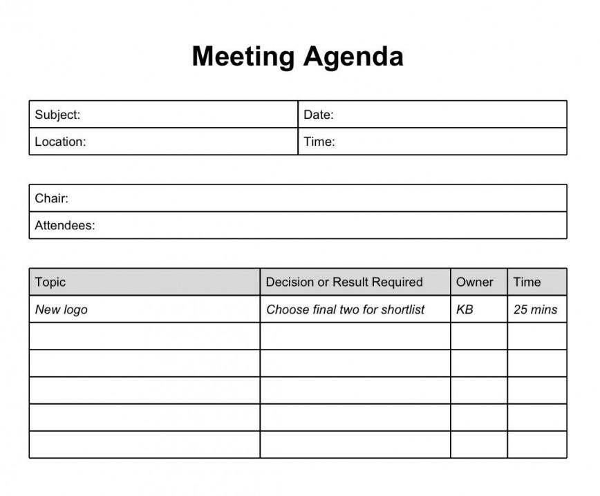 003 Dreaded Meeting Agenda Template Doc Inspiration  Google Sample