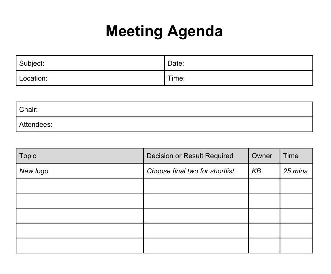 003 Dreaded Meeting Agenda Template Doc Inspiration  Busines Sample SimpleFull