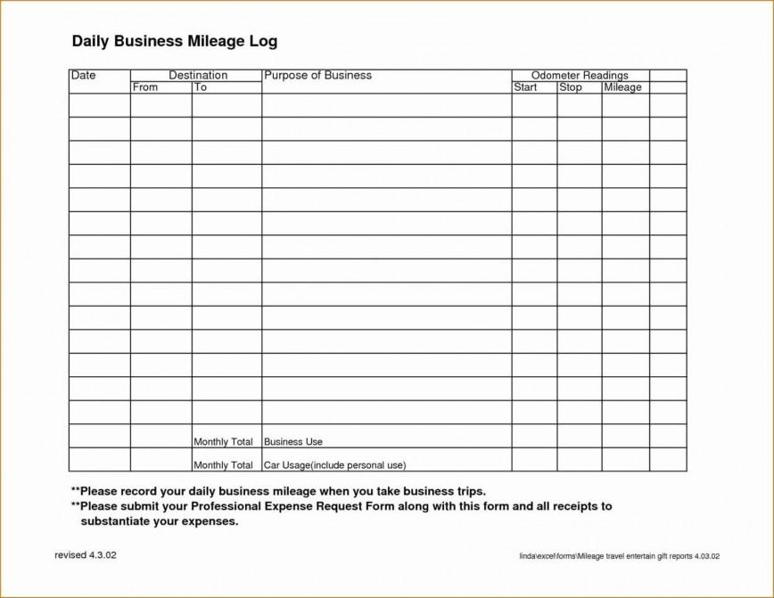 Mileage Log Book Template Excel Addictionary