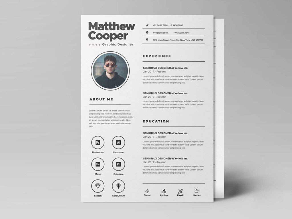 003 Dreaded Psd Cv Template Free Design  2018 Vector Photo And File Download ArchitectLarge