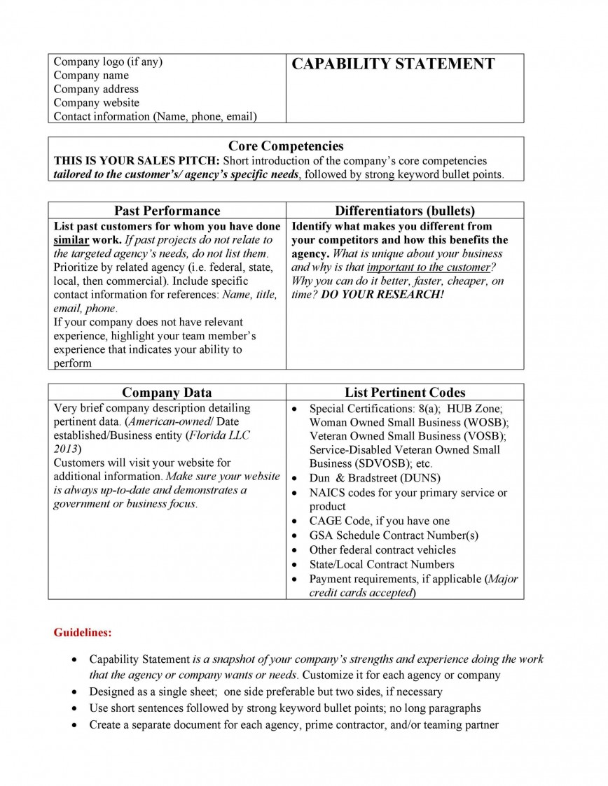 003 Excellent Capability Statement Template Word Doc Picture  Document Free