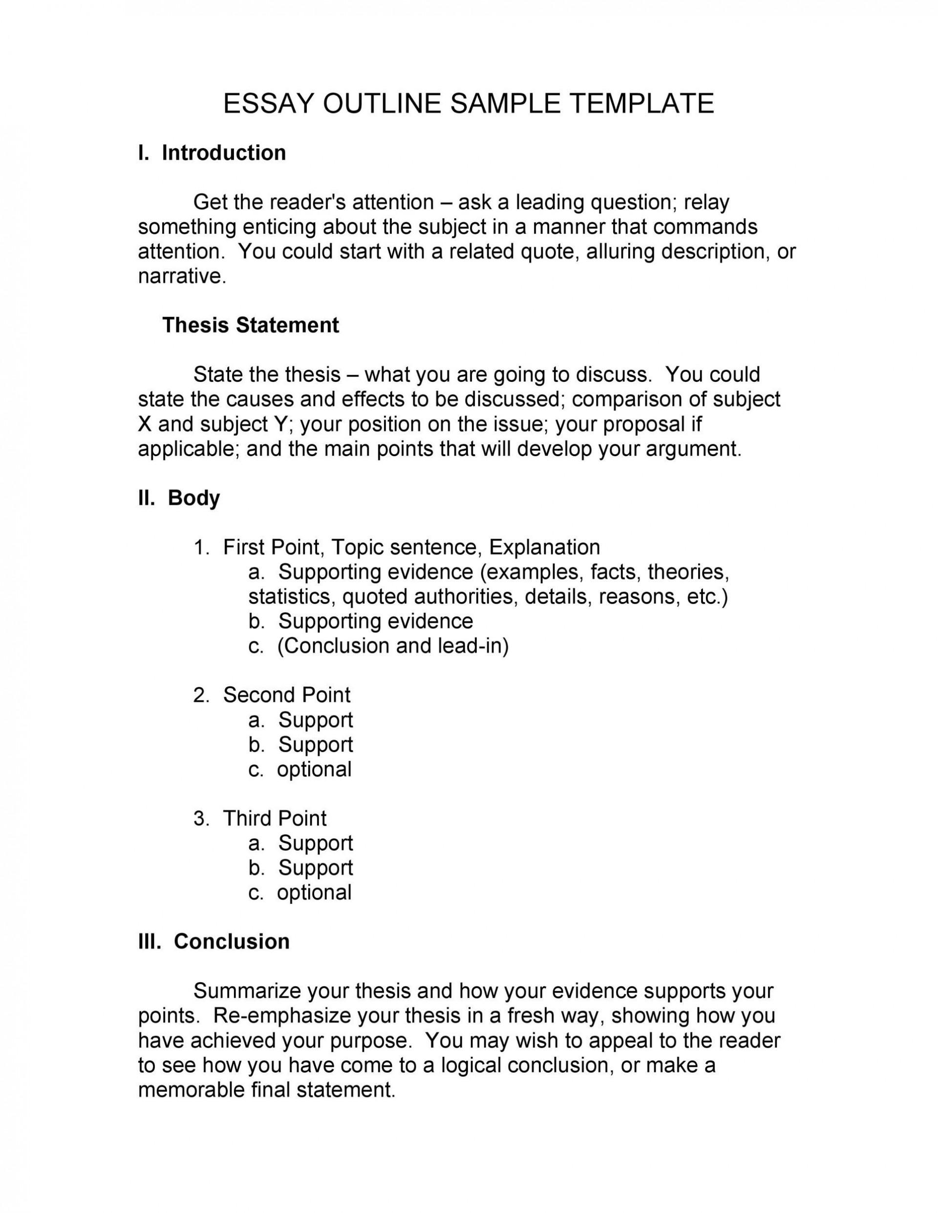 003 Excellent College Argumentative Essay Outline Template Photo  High School1920