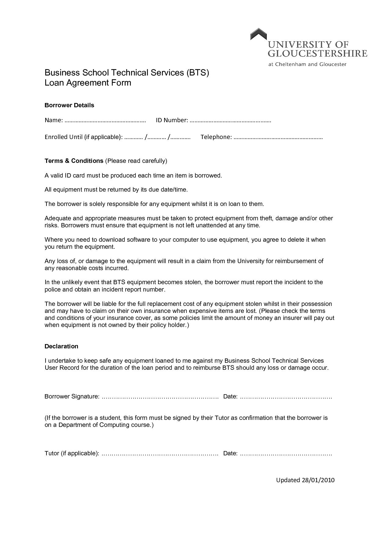 003 Excellent Equipment Loan Agreement Template Concept  Simple Uk Borrowing FreeFull