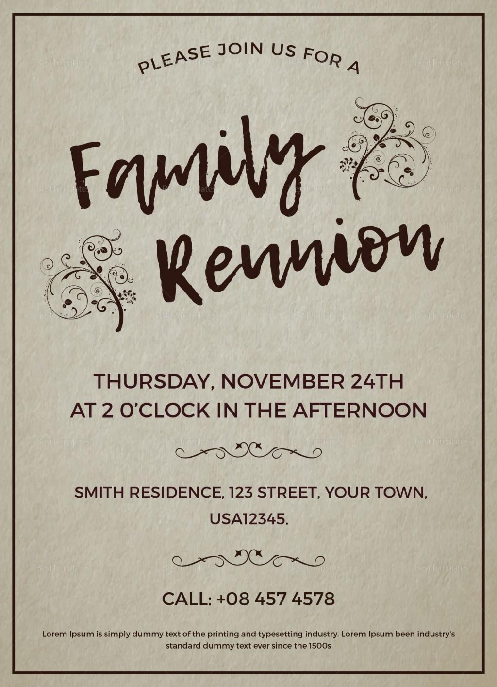 003 Excellent Free Downloadable Family Reunion Flyer Template Concept Large