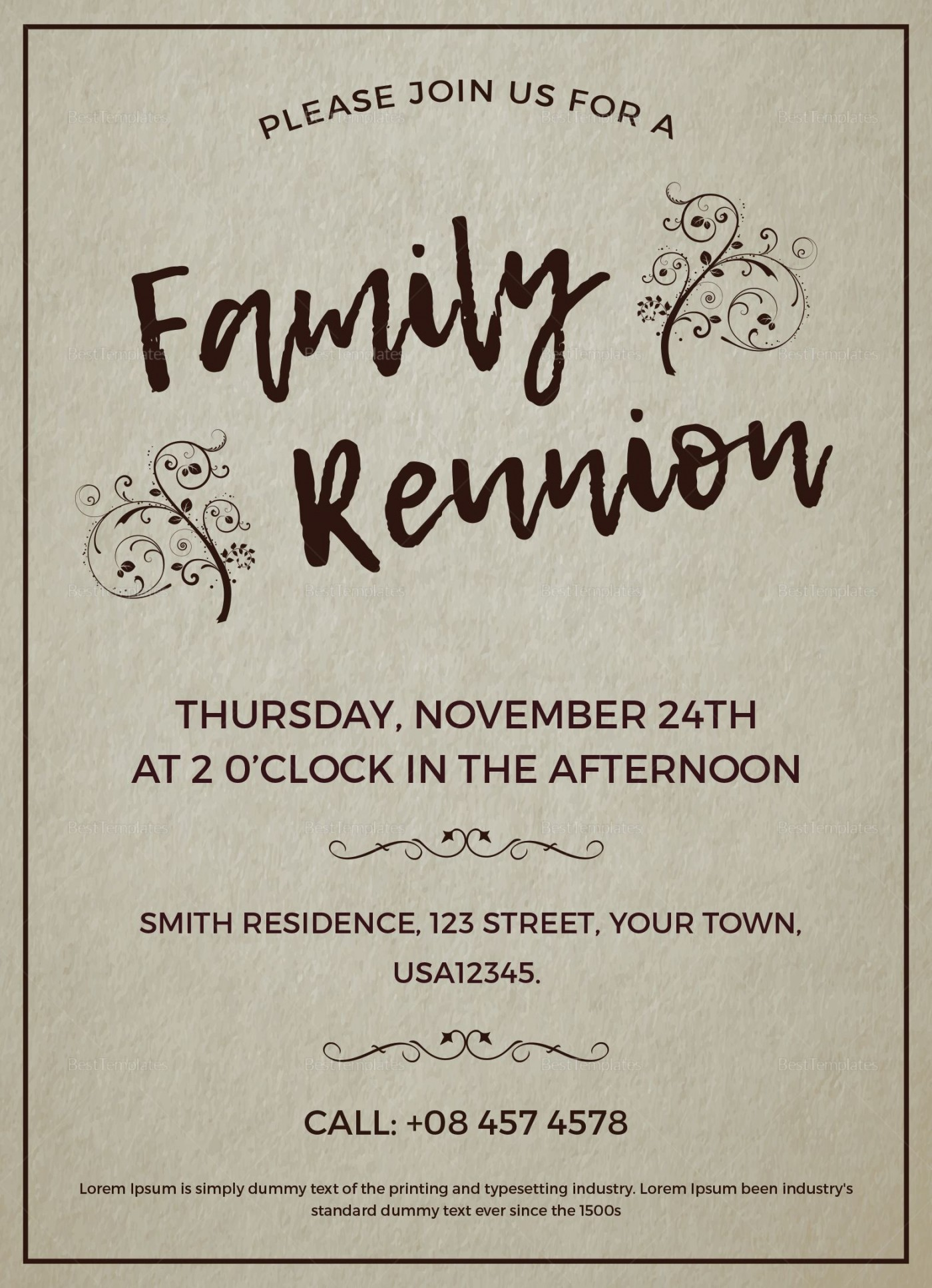 003 Excellent Free Downloadable Family Reunion Flyer Template Concept 1400