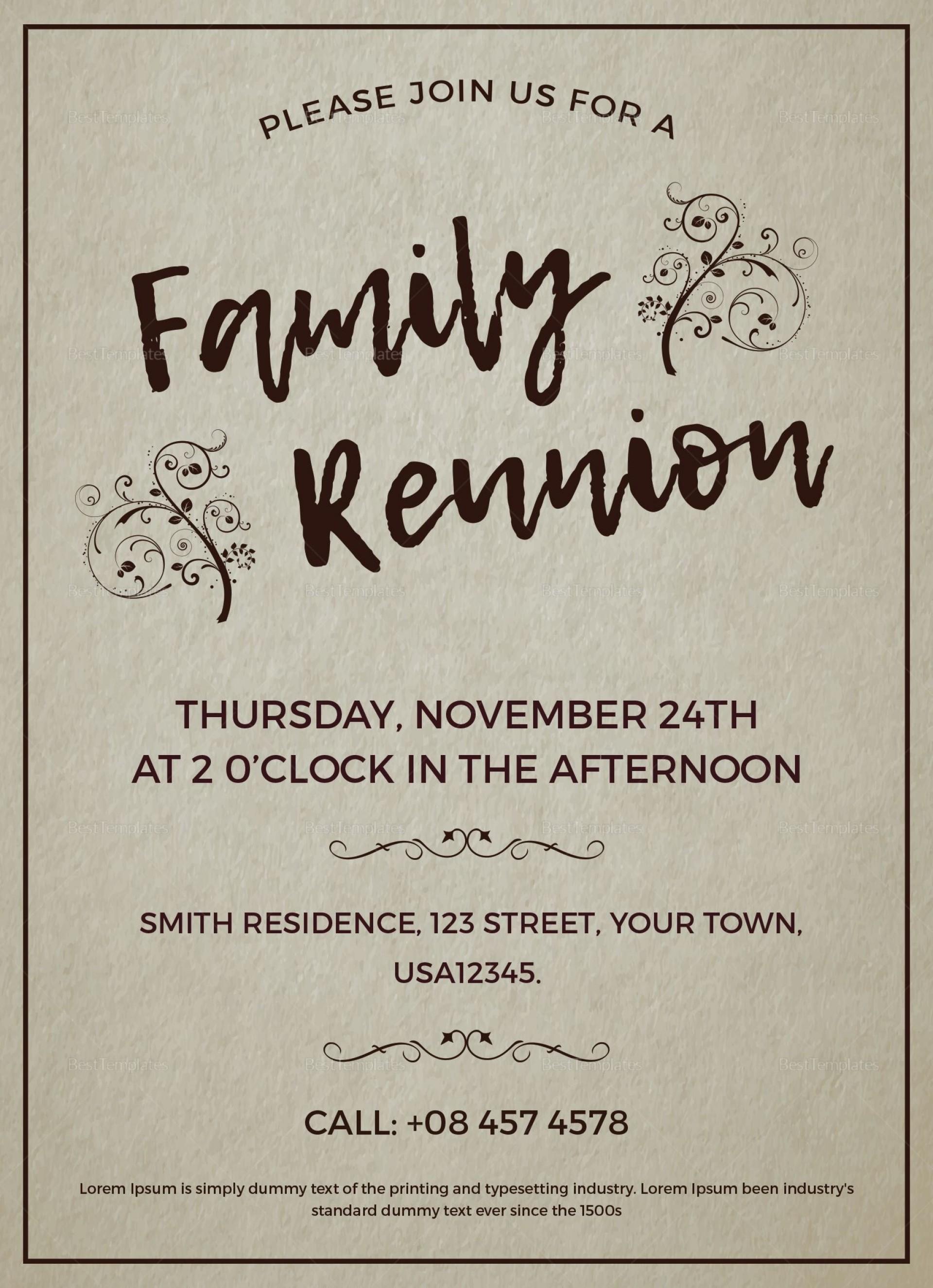 003 Excellent Free Downloadable Family Reunion Flyer Template Concept 1920