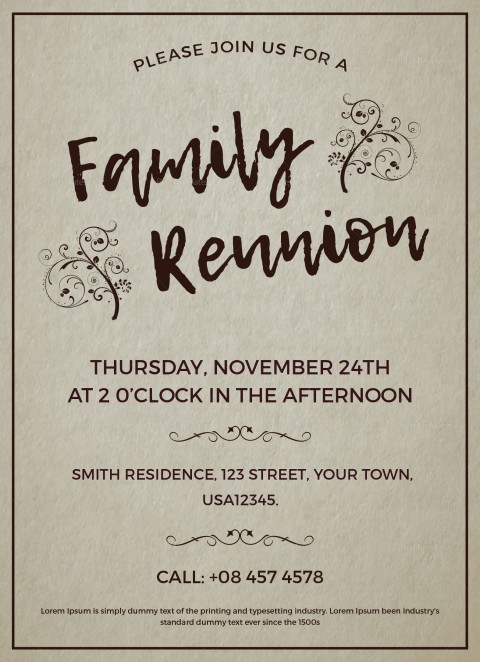 003 Excellent Free Downloadable Family Reunion Flyer Template Concept 480
