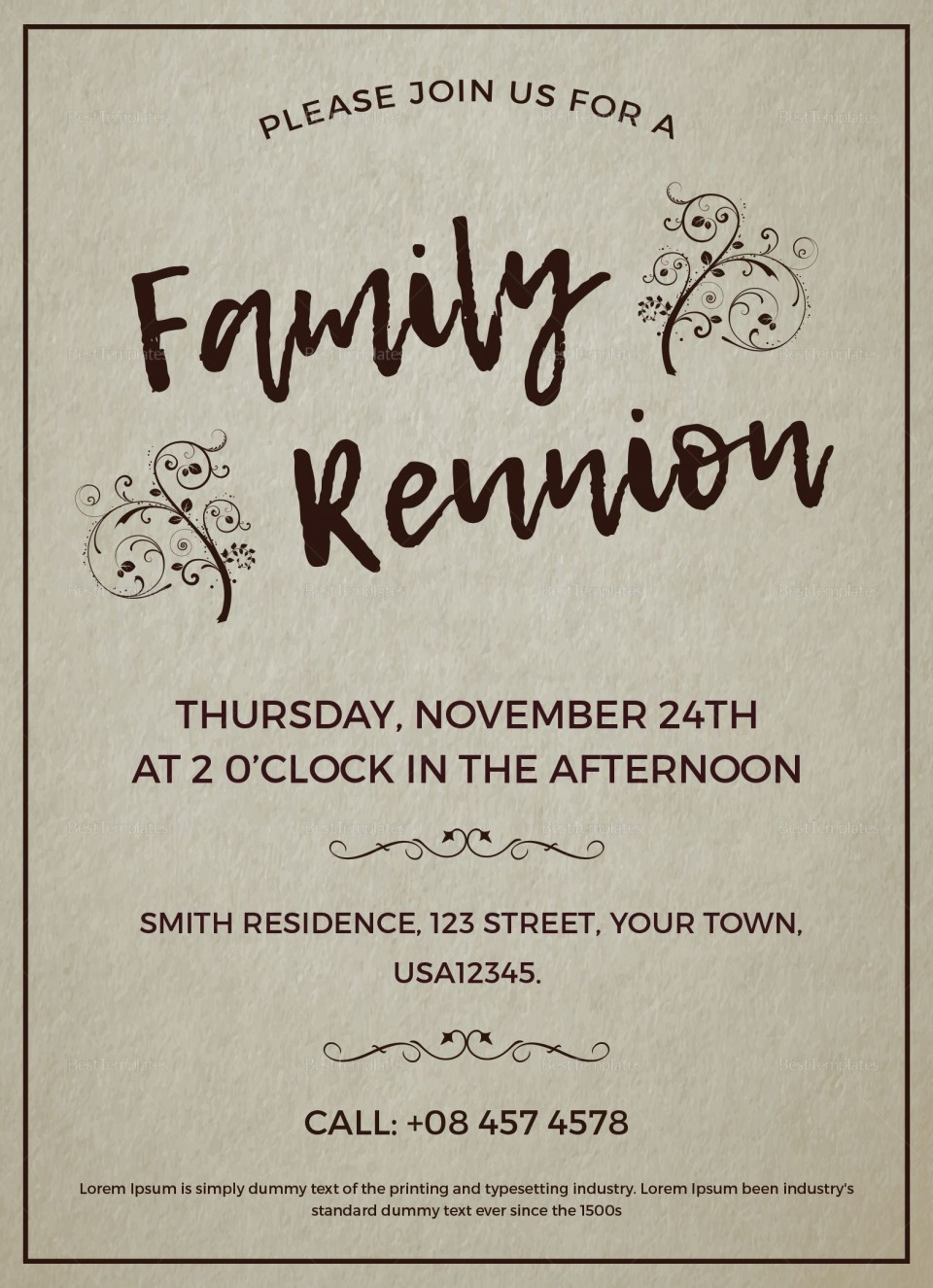 003 Excellent Free Downloadable Family Reunion Flyer Template Concept 960