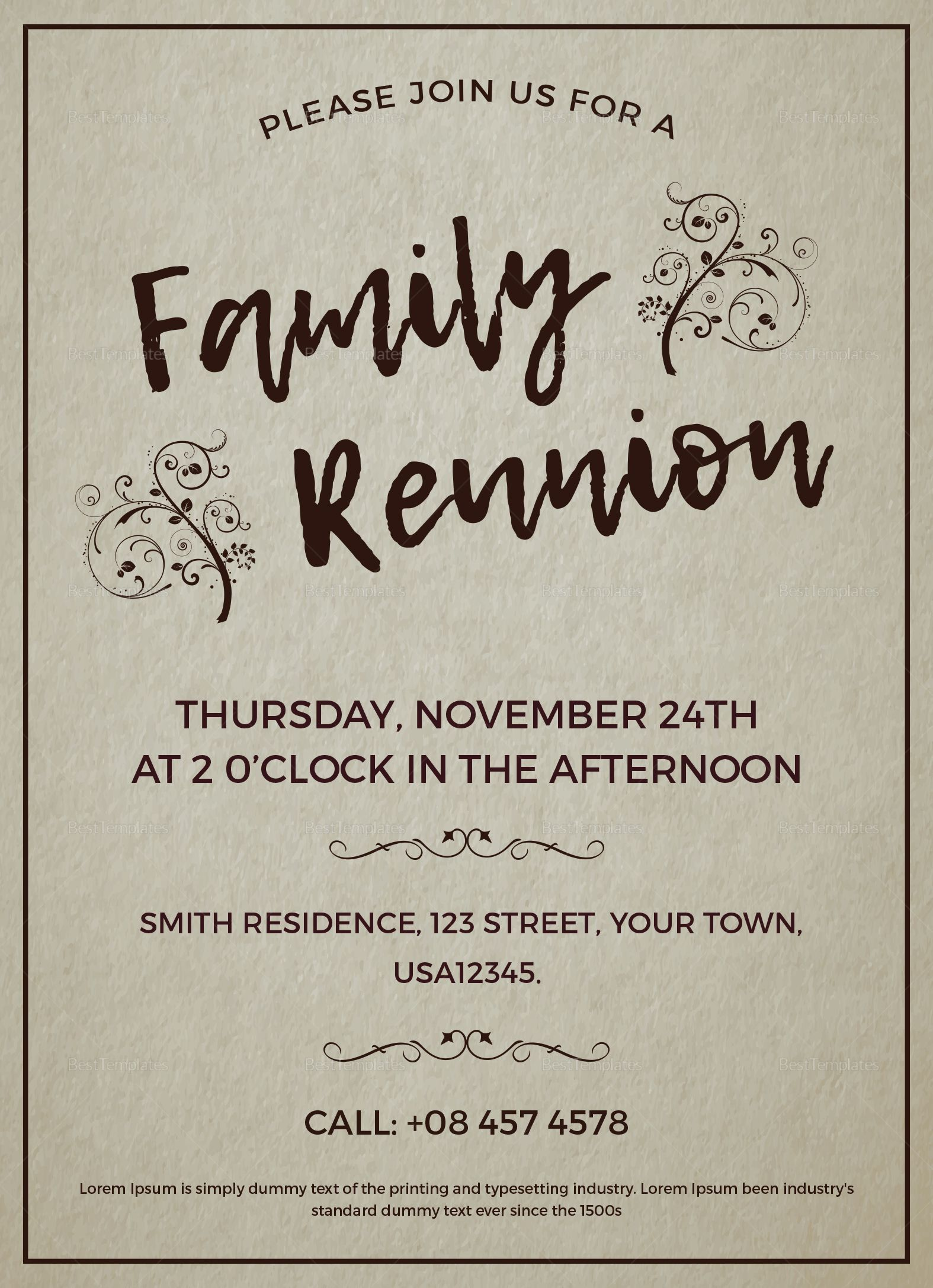 003 Excellent Free Downloadable Family Reunion Flyer Template Concept Full