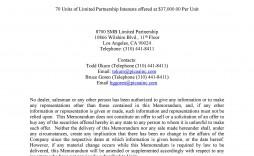003 Excellent Free Sample Private Placement Memorandum Template Example
