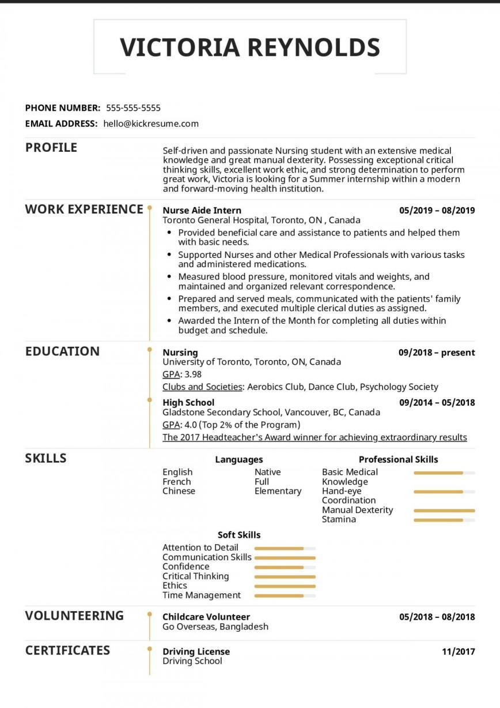 003 Excellent Nursing Student Resume Template Idea  Free Word868