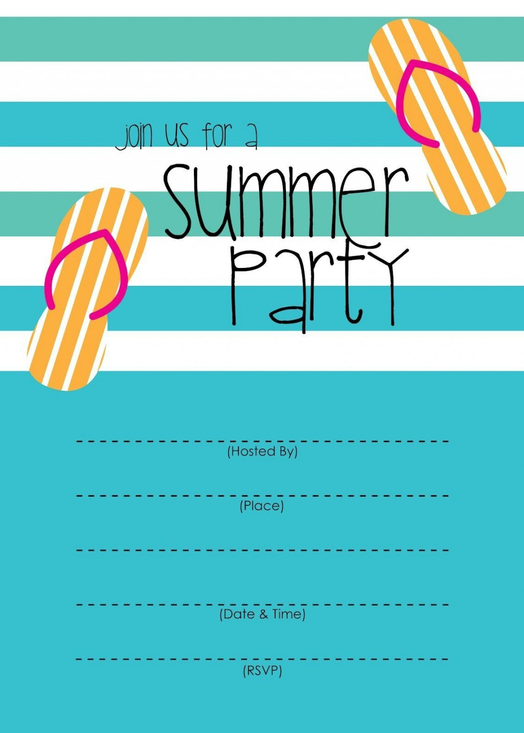 003 Excellent Pool Party Invitation Template Free Idea  Downloadable Printable SwimmingLarge