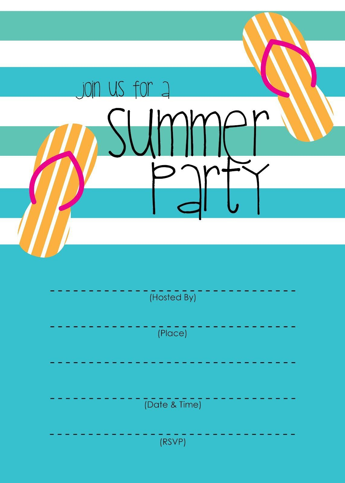 003 Excellent Pool Party Invitation Template Free Idea  Downloadable Printable SwimmingFull