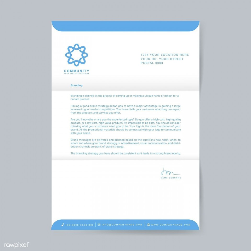 003 Excellent Sample Letterhead Template Free Download Image  Professional Design In Word Format960