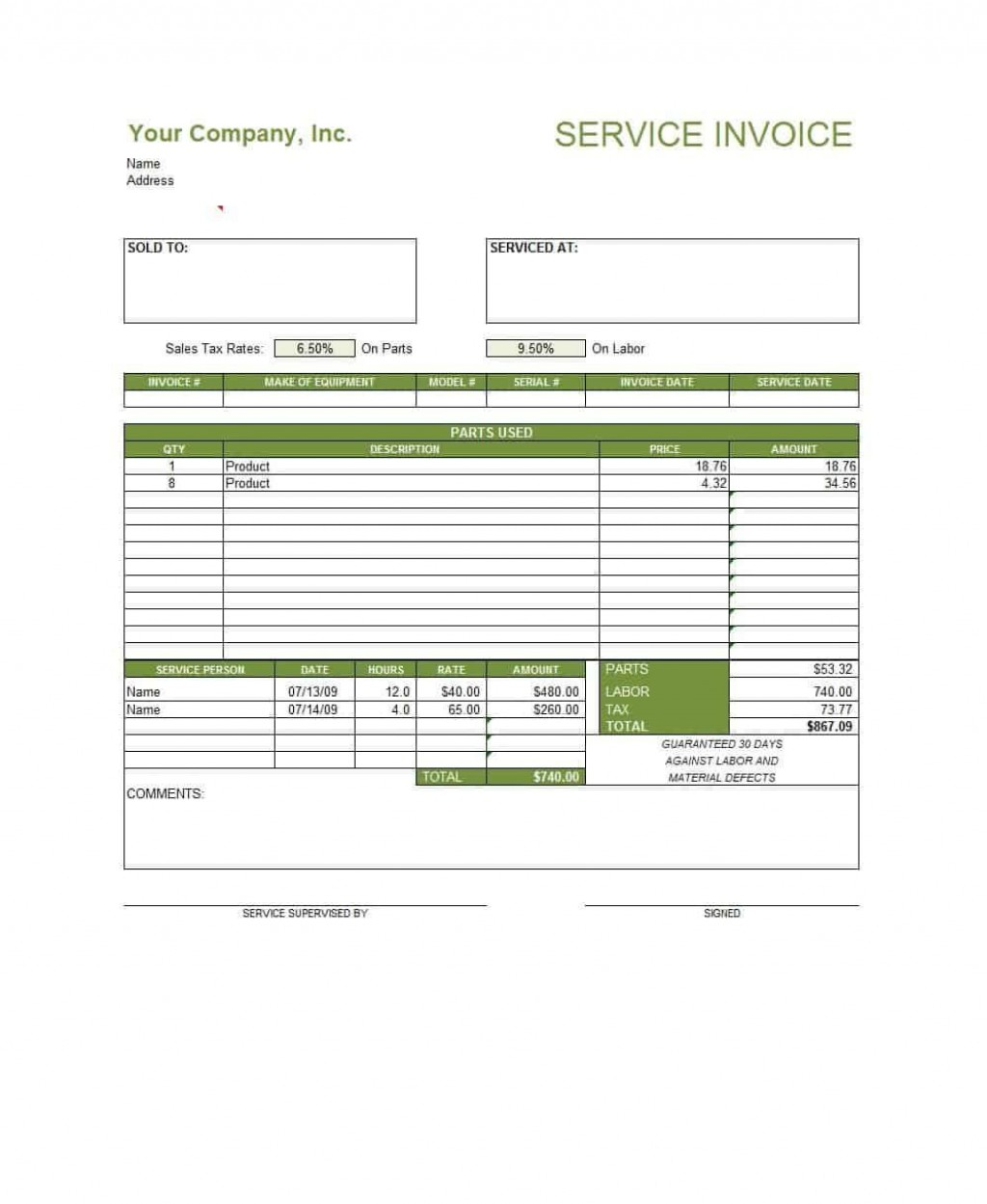 003 Excellent Service Invoice Template Free Highest Clarity  Rendered Word Auto DownloadLarge