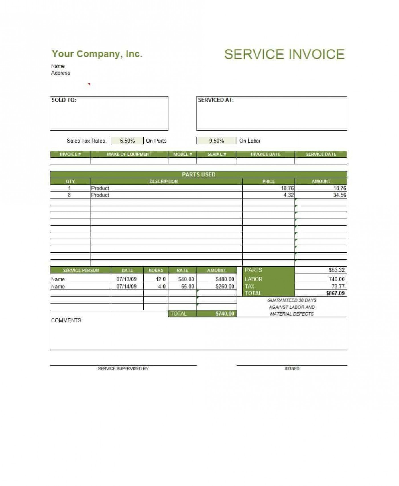 003 Excellent Service Invoice Template Free Highest Clarity  Rendered Word Auto Download1400