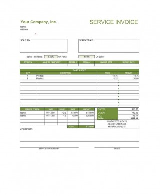 003 Excellent Service Invoice Template Free Highest Clarity  Rendered Word Auto Download320