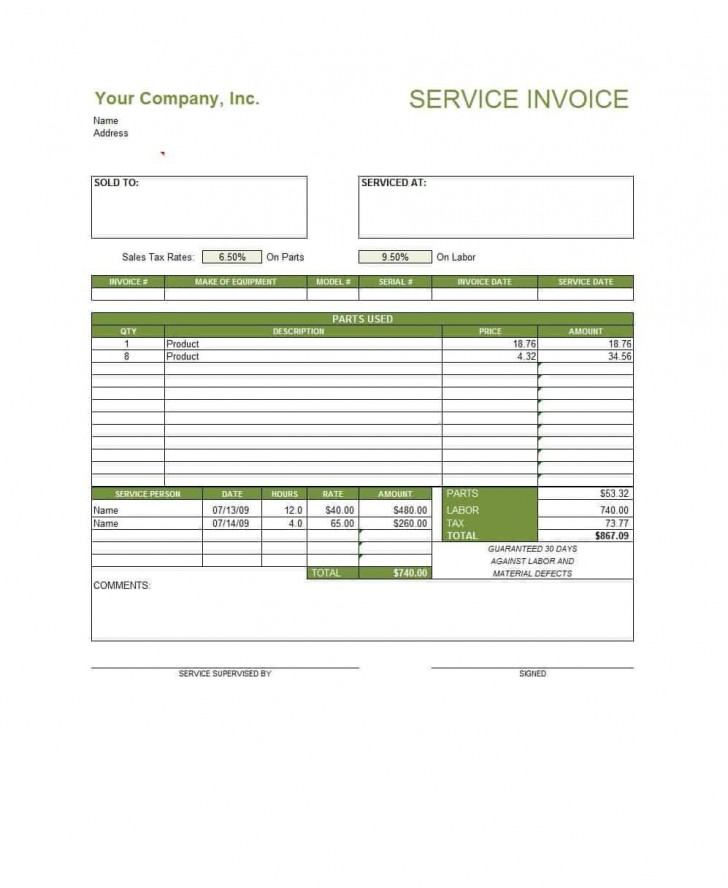 003 Excellent Service Invoice Template Free Highest Clarity  Rendered Word Auto Download728