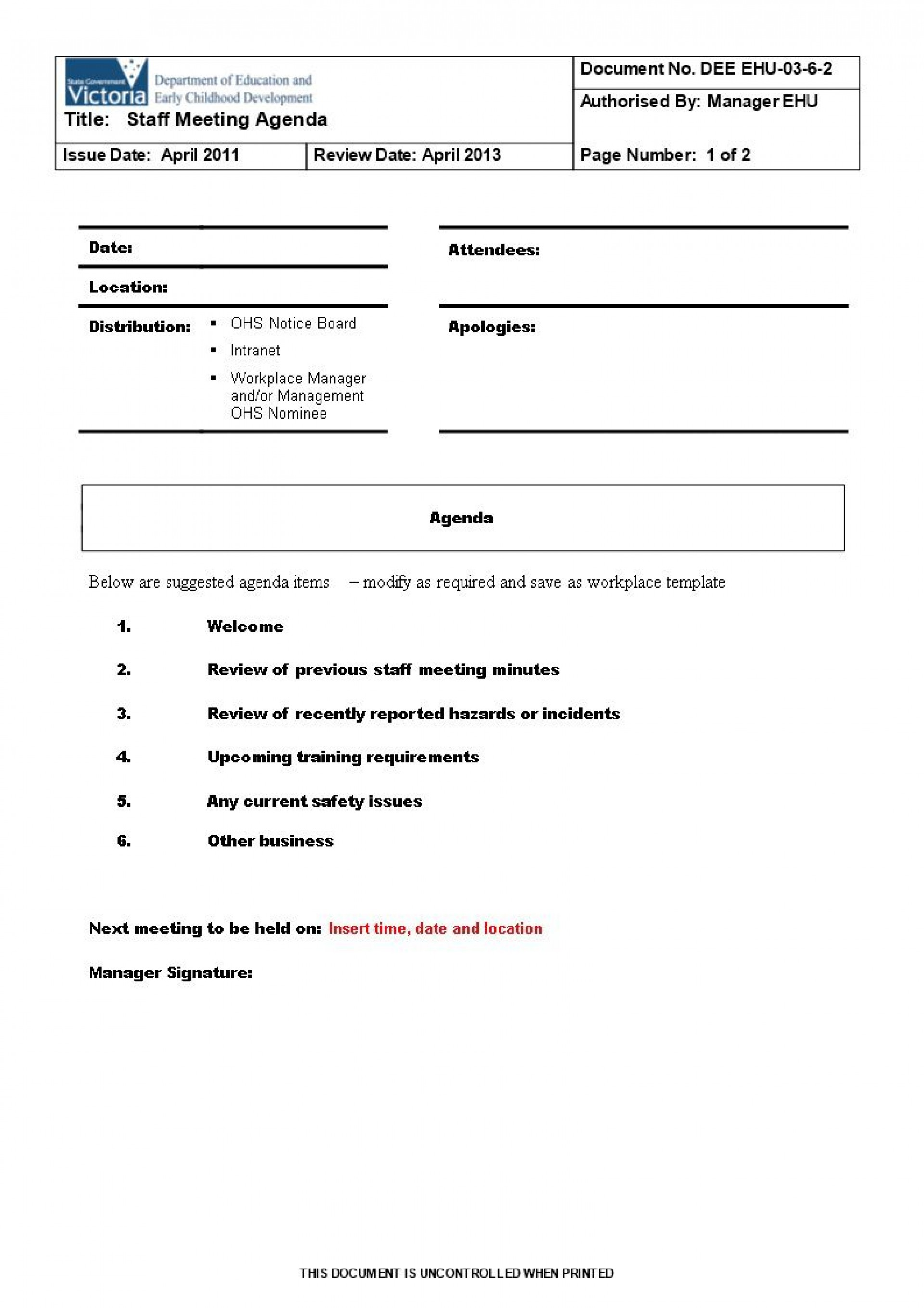003 Excellent Staff Meeting Agenda Template High Def  Example Format1920