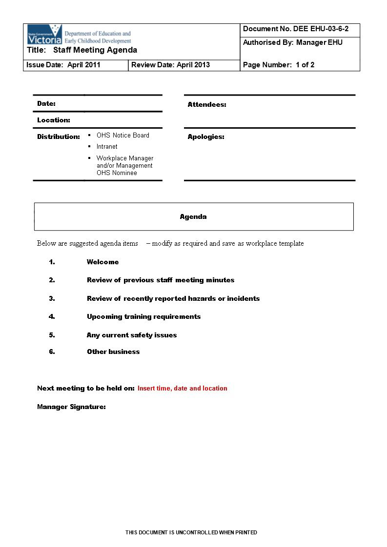 003 Excellent Staff Meeting Agenda Template High Def  Example FormatFull