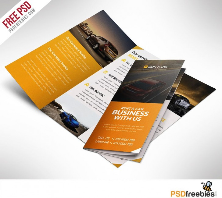 003 Excellent Three Fold Brochure Template Psd Photo  Free 3 A4 Tri Download728