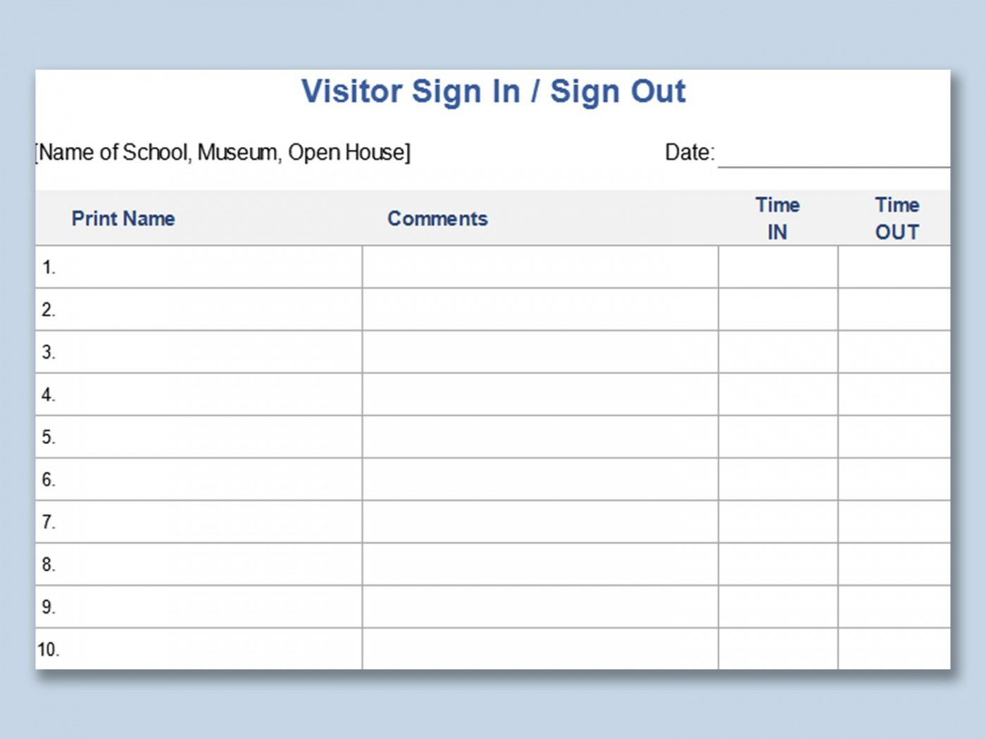 003 Excellent Visitor Sign In Sheet Template High Definition  Busines Pdf1400