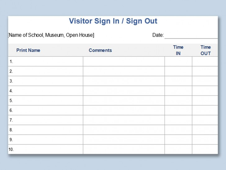 003 Excellent Visitor Sign In Sheet Template High Definition  Busines Pdf728