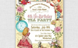 003 Exceptional Alice In Wonderland Invitation Template Example  Templates Wedding Birthday Free Tea Party