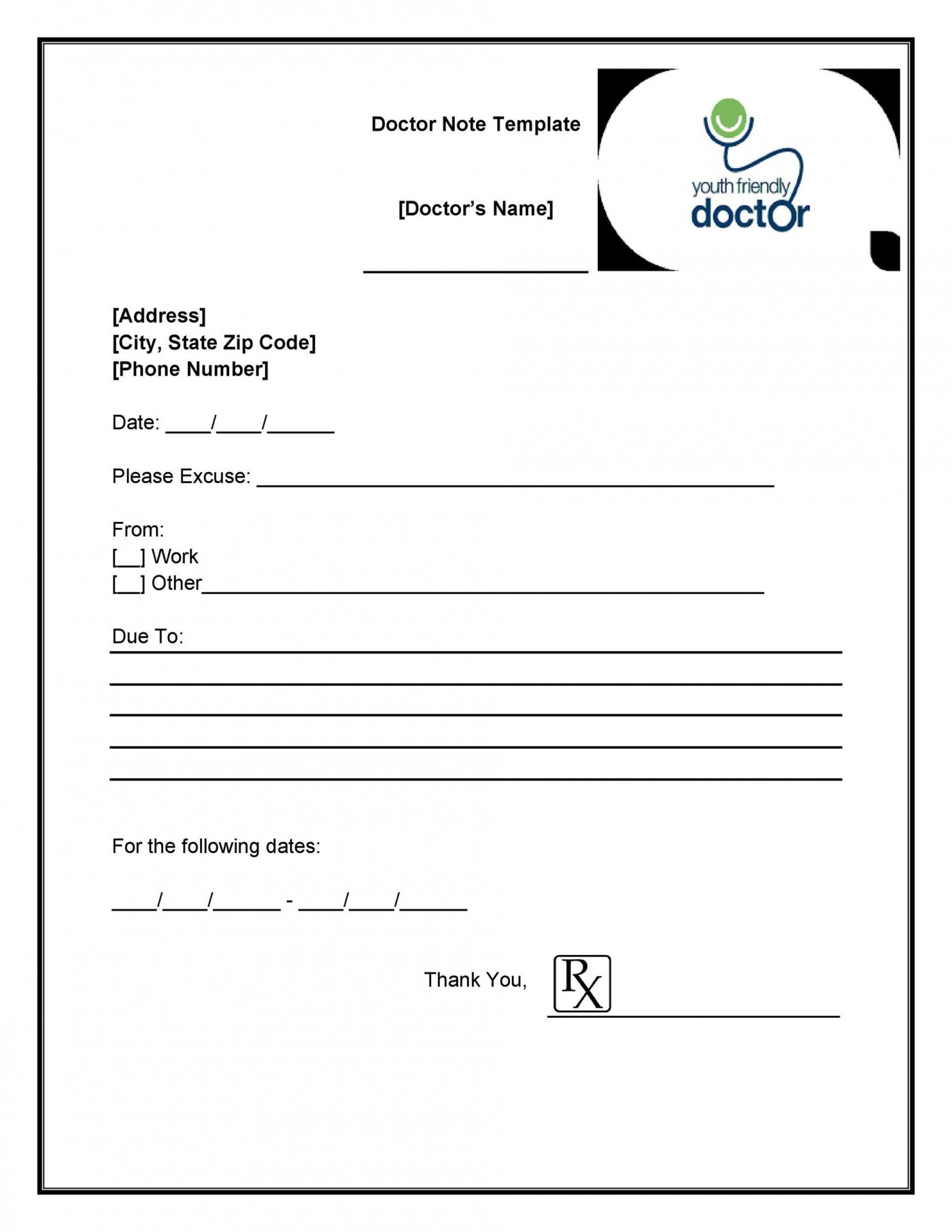 003 Exceptional Doctor Note Template Free Download High Def  Fake1400